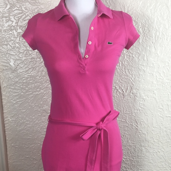 beff017a Lacoste Sirop Pink Polo Shirt Dress 34 Extra Small